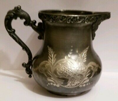 Imperial Silver Company Quadruple Plate Ornate Engraved Pitcher 150