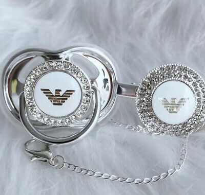 Romany Metallic Silver Bling Soother Dummy Charm Baby Shower Gift Christening