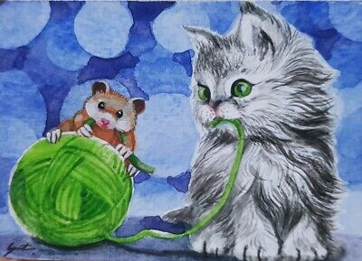 Original ACEO Painting Art Card Cat Kitten Yarn Rat Mouse HBD Gift