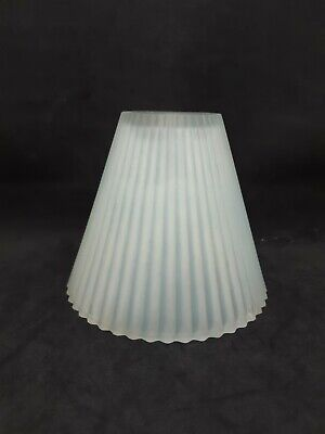 Vintage Art Deco Frosted Glass Boudoir Lamp Shade Blue Highlight