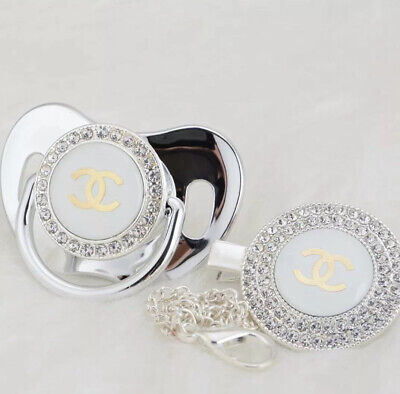 Romany Metallic Silver Bling Soother Dummy And Clip Baby Shower Gift Christening