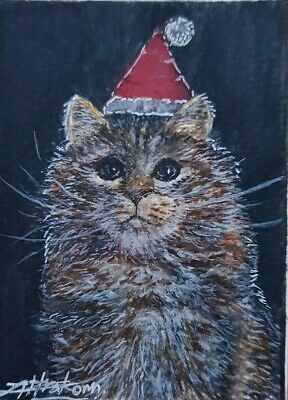 ORIGINAL ACEO Watercolor Painting Art Black Gift Card Christmas Cat