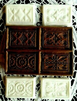 Springerle Speculaas Butter Paper Cast Cookie Stamp Press Mold 4 Parquet Tiles