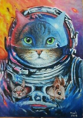 Original ACEO Acrylic Painting Art Cat Mouse Space Galaxy Science Astronaut