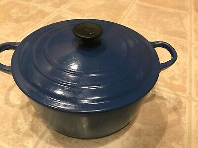 "LE CREUSET Cast Iron Enamel 3.5 qt ""D"" Dutch Oven With Lid Made In France Blue"