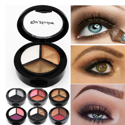 1x 3 Colors Eyeshadow Natural Smoky Cosmetic Eye Shadow Palette Make Up Kit New