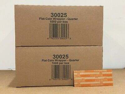2000-CT - Quarters Flat Coin Wrappers Pop Open Tubes 25c Twenty Five Holder Cent
