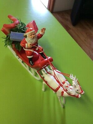 Vintage Christmas  Santa And Sleigh decoration