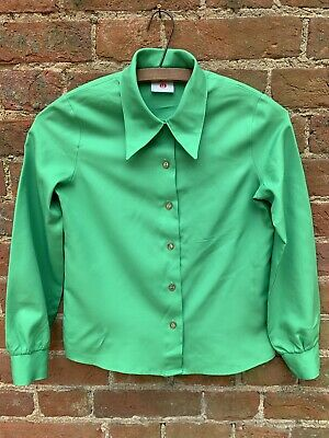 Vintage 70s St Michael Green Shirt Blouse Dagger Collar Age 10 11