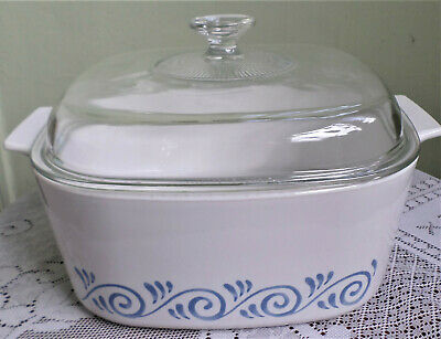 Vintage Corning Ware Baking Dish & Lid~Waves Pattern~Holds 5 Litres~Casserole~