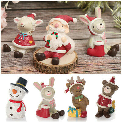 New Miniatures Merry Christmas Santa Claus Snowman Figurine Desktop Ornament
