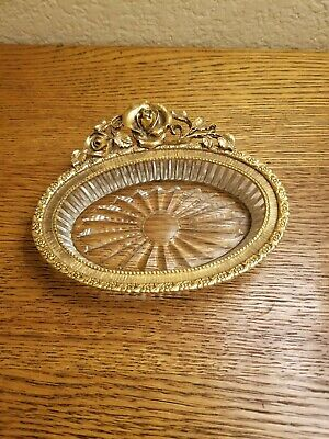 Hollywood Regency Vintage Matson Gold Floral Rose Vanity Soap Dish,Trinket dish.
