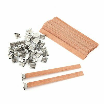 100x Wooden Candle Wicks Wick Tabs Low Smoke Sustainers Core Holder Party