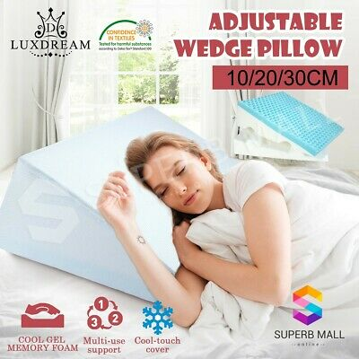 Elevation Wedge Pillow Cooling Gel Memory Foam Sleep Support Cushion w/ Cover