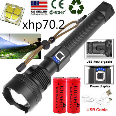 Ultra Bright 990000LM XHP70.2 LED Flashlight 18650 26650 USB Rechargeable Torch