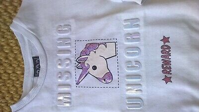 Girls OUTFIT Unicorn top & Leggings - 6-7 years GOOD USED CONDITION