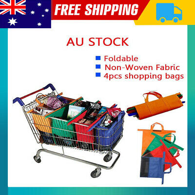 NEW Set of 4 Shopping Trolley Bags Vibe Reusable Eco-Friendly Supermarket VIC