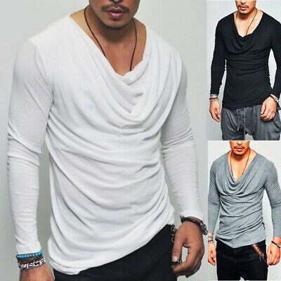 Mens Long Sleeve Slim Fit Shirt Casual Plain V Neck Muscle Tee Tops Blouse M-3XL