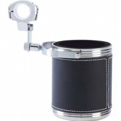 Diamond Plate Large Stainless Steel Motorcycle Cup Holder with Faux Leather Wrap