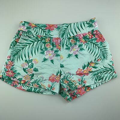 Girls size 10, Cotton On, green floral cotton shorts, elasticated, GUC