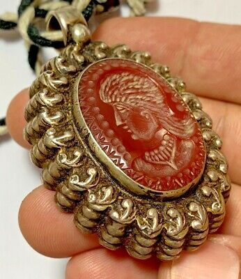 Unique - Scarce Ancient Roman Pendant Silver, Carnelian Intaglio Seal - Bust