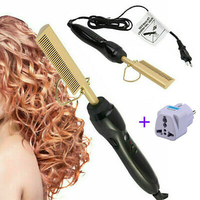 Electric Hot Hair Flat/Curling Iron Straightener Comb Body Rotatable + Adapter