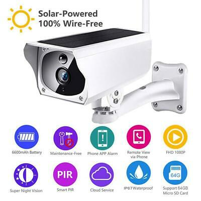 Solar Powered WiFi Wireless 1080P IP Camera IP66 Night Vision Security CCTV Cam
