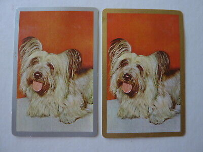 Gold Silver 1970's #3 Puppies Dogs Single GENUINE VINTAGE Playing Swap Cards AK