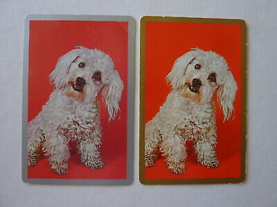 Gold Silver 1970's #4 Puppies Dogs Single GENUINE VINTAGE Playing Swap Cards AK