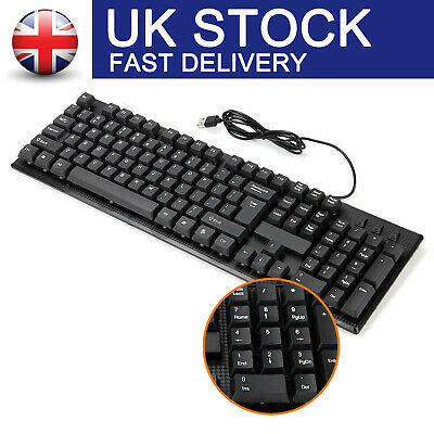 Usb Wired Stylish Qwerty Keyboard Uk Layout For Pc Desktop Computer Laptop