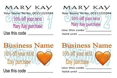 Etsy Mary Kay Customer Discount Cards 50 Designed Personalised Printed