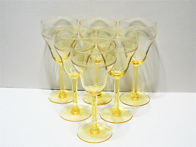 Vintage Water Goblet Etched Sahara Topaz Yellow Set of 6