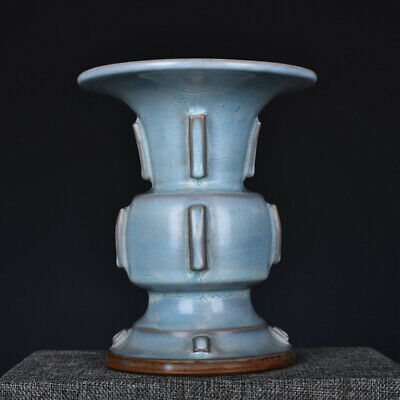 "7.7"" Chinese old Antique Porcelain song jun kiln white glaze Ceramics zun Vase"
