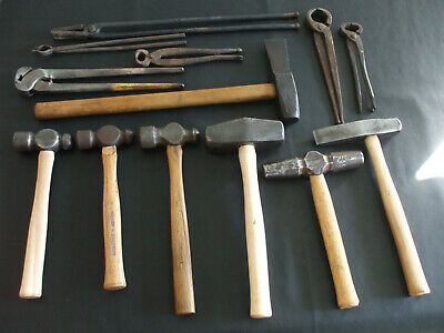 Lot Of Blacksmith Tools Hammers Tongs Ball Peen Cut Off Others Anvil Forge