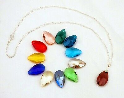 """Silver Plated Necklace With Crystal Drop Pendant 18"""" Lovely Gift"""