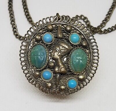 """Vintage Egyptian Revival Silver Scarab Turquoise Cabochon Necklace Pendant ~ 24"""""""