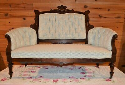 Classic Carved Walnut Victorian Eastlake Settee Couch Sofa Shabby Chic Fabrics