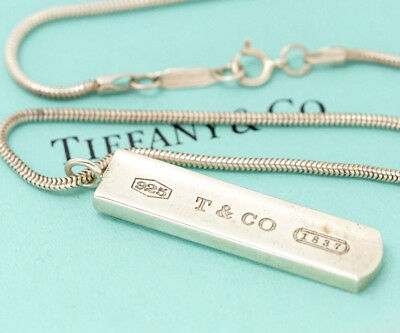 TIFFANY&Co 1837 Bar Pendant Necklace Sterling Silver 925