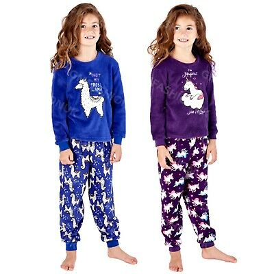 Girls Micro Fleece Pyjamas PJs Unicorn LLama Novelty Soft Warm Twosie 7-13 Years