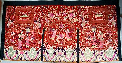 Ancienne Broderie sur soie Chinoise Antique Qing tapestry 19th C. 260x135 cm
