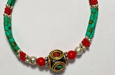 AMAZING Antique Roman mixed colour glass Beads Bracelet - one bead gold plated