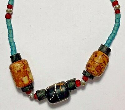 AMAZING Antique Roman lovely mixed color glass Beads SILVER Bracelet