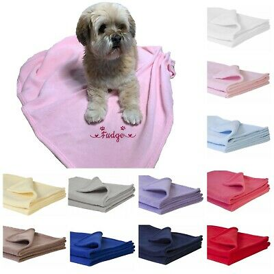 Personalised name embroidered pet fleece blanket dog cat puppy kitten pink blue