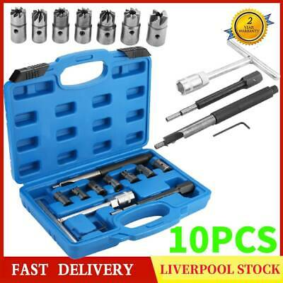 Steel Diesel Injector Seat Cutter Cleaner Carbon Remover Tool Re-Face Score Kit