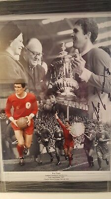 ron yeats liverpool legend.genuine hand signed18x14 professionally framed coa