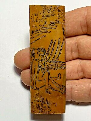 RARE - OLD Very Fine Antique Chinese Carved Wood Sex pendant 35.3gr 90.2mm