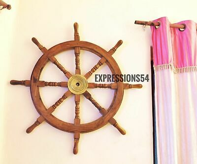 Nautical Ship Wheel Boats Steering Wheel Wooden Wall Sculpture Antique Wall Deco