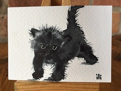 ACEO Original Watercolour Fine Artwork Cute Black Cat Kitten By ili