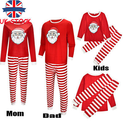 Family Matching Adult Kids Christmas Santa Claus Xmas Nightwear Pyjamas PJs Sets