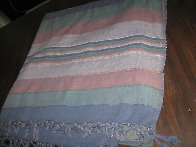 Lovely vintage/retro bed throw/tablecloth - shades of blue/green/orange  (14)